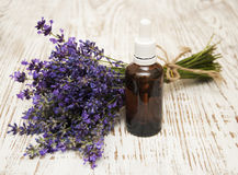 Lavender and massage oil Royalty Free Stock Image