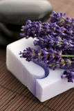 Lavender and massage stones Royalty Free Stock Photos