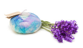 Lavender Merino Wool Felted Soap Stock Photos