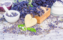 Lavender, mint, globules, ointment. Lavender, mint, globules and ointment Stock Photography