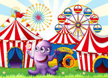 A lavender monster at the amusement park Stock Photography