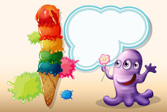 A lavender monster holding a flower near the giant icecream Stock Photography