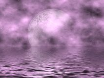 Lavender Moon & Water Stock Photo