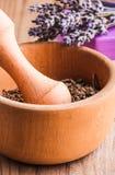 Lavender in mortar Stock Photo