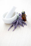 Lavender and mortar and pestle Royalty Free Stock Photos