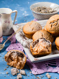 Lavender muffins on a tray Royalty Free Stock Photo