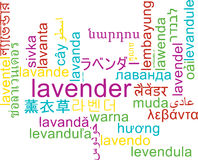 Lavender multilanguage wordcloud background concept Stock Image