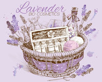 Lavender natural cosmetics basket. Royalty Free Stock Image