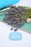 Lavender natural cosmetics. For skincare Stock Photo