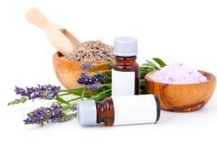 Lavender oil. Lavender bath salt on white background stock photo