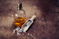 Lavender Oil And Salt With Lavender Stock Photo