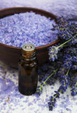 Lavender oil with bath salt and fresh lavender Royalty Free Stock Image