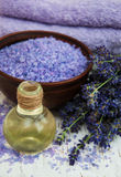 Lavender oil with bath salt and fresh lavender Royalty Free Stock Photo