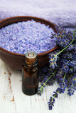 Lavender oil with bath salt and fresh lavender Stock Photo