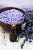 Lavender oil with bath salt and fresh lavender Stock Photo