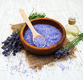 Lavender oil with bath salt Stock Image