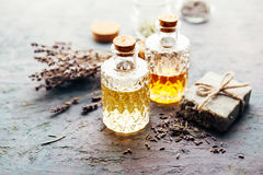 Lavender oil in bottles and soap stock photo