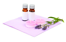 Lavender, oil, candle Royalty Free Stock Image