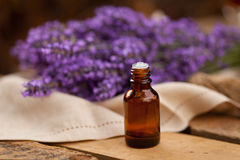 Lavender oil container Stock Photo