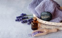 Lavender oil with flowers. SPA, essential oil with lavender flowers - health and beauty stock photography