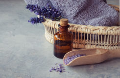 Lavender oil and flowers. SPA, essential oil with lavender flowers - health and beauty Stock Photo