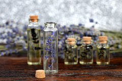 Lavender oil in a glass bottle Royalty Free Stock Photo