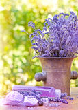 Lavender oil and lavender soap Stock Photos