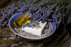 Lavender oil and lavender soap - Stock Photo Royalty Free Stock Images