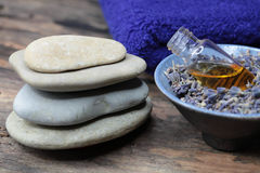 Lavender oil and lavender soap - Stock Photo Royalty Free Stock Photos