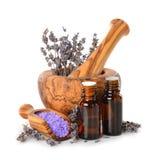 Lavender oil and salt Stock Photos