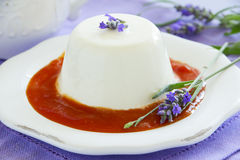 Lavender panna cotta Royalty Free Stock Photo