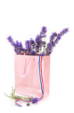 Lavender in pink paper bag Royalty Free Stock Images