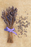 Lavender Posy. Lavender flower posy over old brown paper background Stock Photos