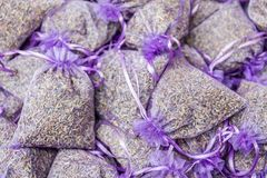 Lavender present bags royalty free stock images