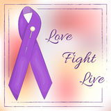 Lavender ribbon on abstract background for World Cancer Day. Love. Fight. Live.  vector illustration in cartoon Royalty Free Stock Photo