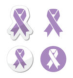 Lavender ribbon - general cancer awareness Stock Images