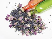 Lavender & Rose. With bottles royalty free stock photography
