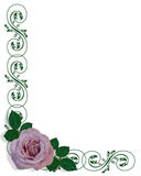Lavender Rose Corner Design Stock Images