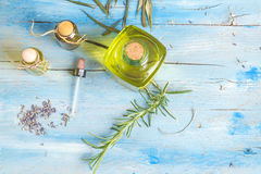 Lavender and rosemary essentials oils Stock Photos
