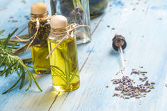 Lavender and rosemary essentials oils Royalty Free Stock Photo