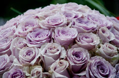 Lavender roses centerpiece flowers. Lavender rose flowers a close up of large bouquet of beautiful fresh soft purple roses stock image