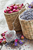 Lavender and roses Herbal tea in basket. Royalty Free Stock Photo