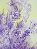 Lavender Roses. Purple line drawings of lavender roses are set against a background of pale yellow and lavender Royalty Free Stock Images