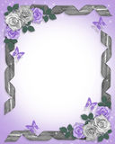 Lavender roses and ribbons Border Royalty Free Stock Photos