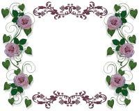 Lavender Roses Wedding Border Stock Images