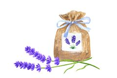 Lavender sachet with blue ribbon and lavender flowers. Hand drawn watercolor illustration. Isolated on white background. vector illustration