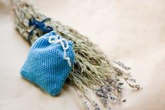 Lavender sachet. Handmade sachet for dry lavender Stock Image