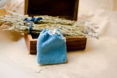 Lavender sachet. Handmade sachet for dry lavender Royalty Free Stock Image