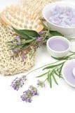 Lavender, sage and spa massage set. On white background Stock Photo