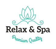 Lavender salt in bowl bath beauty treatment spa and wellness organic therapy vector. Spa logo lotus wellness salon and business spa logo. Business spa logo Royalty Free Stock Photography